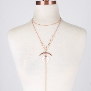 Jewelry - New ✨Crescent Double Layered Rose Gold Necklace 🌙
